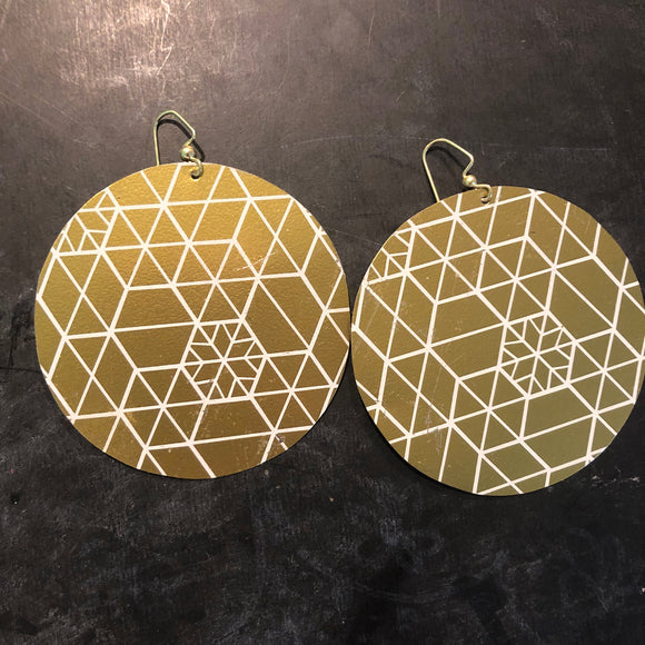 Large Gold Snowflake Circles Tin Earrings