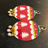 Large Christmas Sweater Tin Earrings with Bead