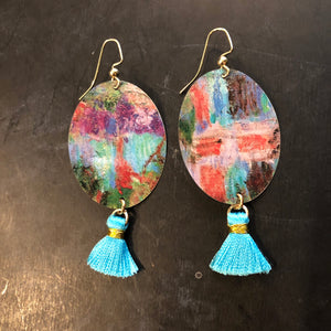Watercolor with Tassel Tin Earrings