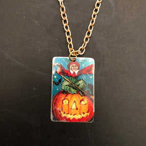 Jack-o-Lantern with Elf Tin Necklace