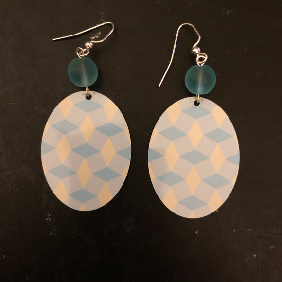 Blue and Cream Oval Tin Earrings