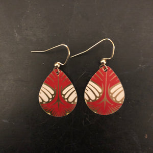 Red and Gold Art Deco Tin Earrings