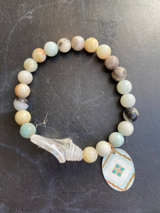 Amazonite and Glass Sea Shell Beaded Tin Charm Bracelet