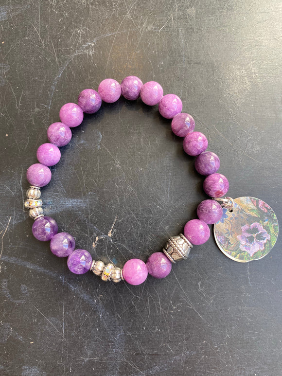 Purple Glass Bead with Silver Tin Charm Bracelet