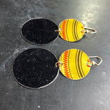 Two Tiered Gold Striped and Black Circle Tin Earrings