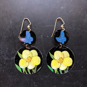 Two Tiered Black and Yellow Floral Circle Tin Earrings