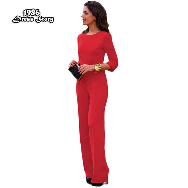 Women Red Jumpsuit Backless Sexy Full Sleeve Rompers Women Jumpsuit Skinny Bodysuit