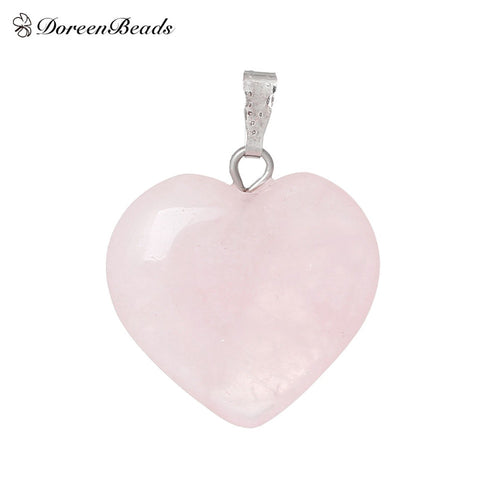 DoreenBeads Light Pink Crystal Heart Pendant For Necklace