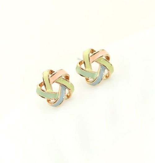 Fashion Color Crossover Twisted Knot Stud Earrings