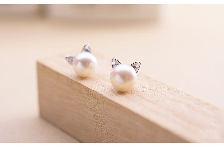 925 Sterling Silver Cat Ear Stud Earrings For Women