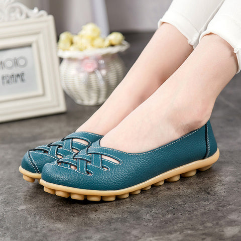 Women Leather Hollow Out Flat Shoes