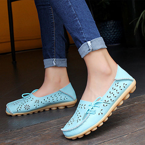 Women's Leather Loafers Hollow Driving Flat Shoes