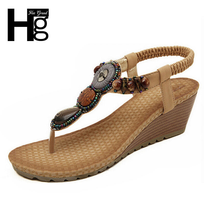 HEE GRAND 2017 Bohemia Wedge Women Sandals Summen Shoes Chaussure XWZ415