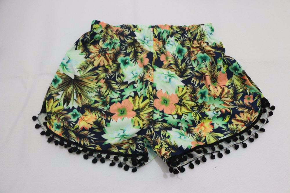 Women Floral Print High Waisted Shorts