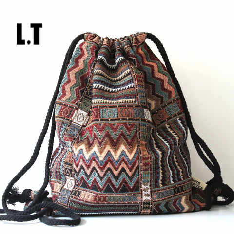Geometric Print Cotton Backpack