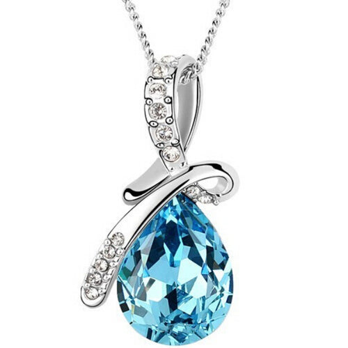 Women Rhinestone Chain Blue Crystal Pendant Necklace