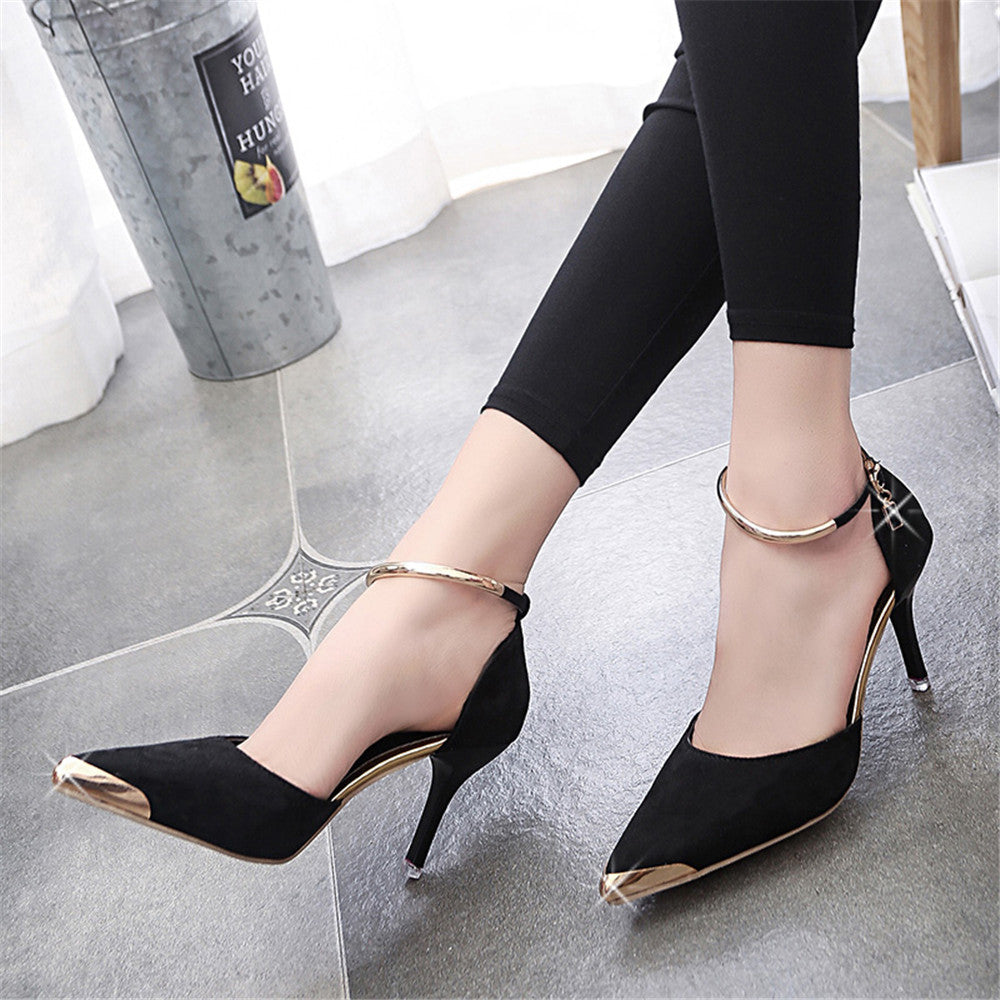 Classy Suede Ankle Strap Women Pumps