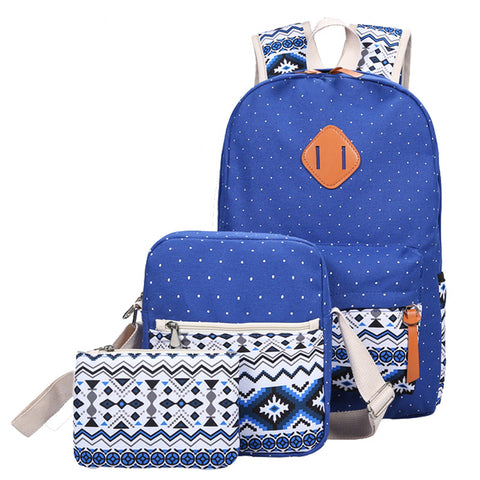 Dotted Print Canvas Backpack Set