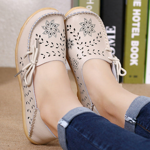 Women Leather Loafers Slip On Flat Shoes