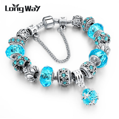 Silver Chain Blue Crystal Beads Charm Bracelet For Women