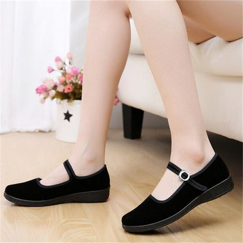 Black Leather Buckle Women Flat Shoes