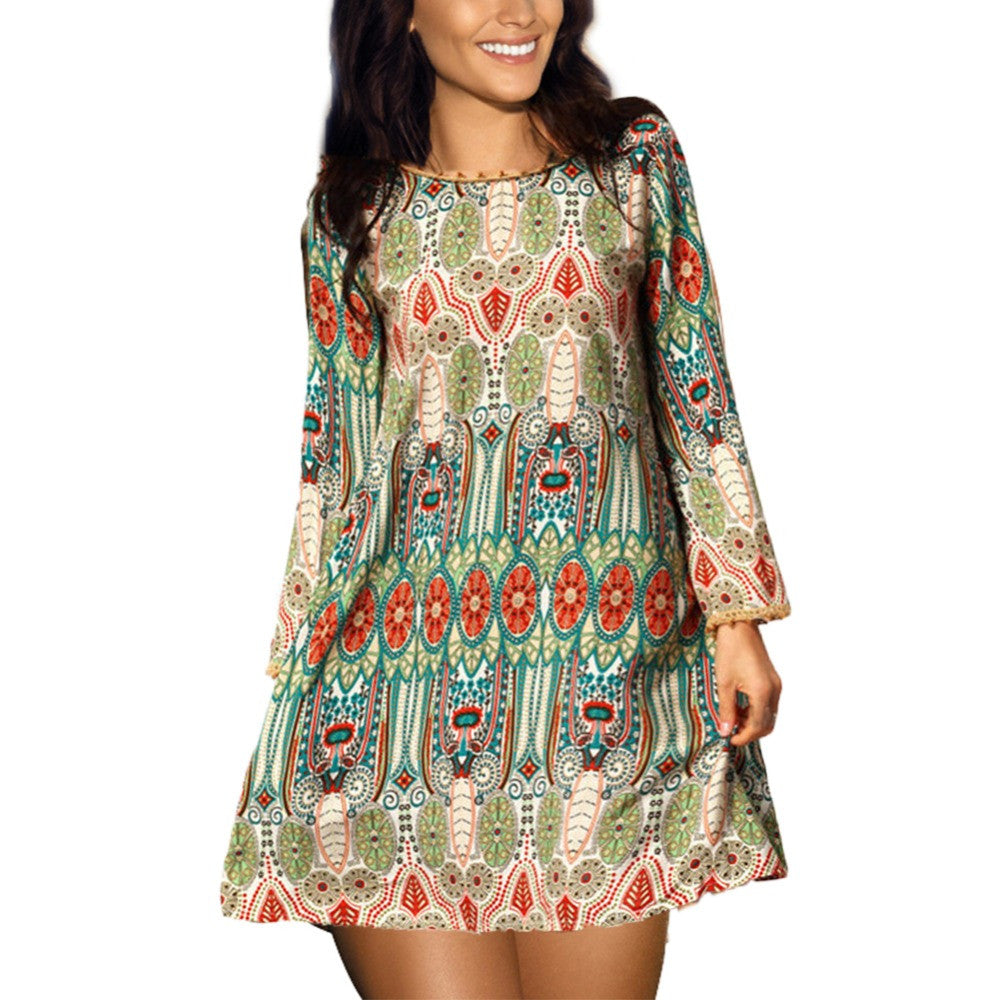 Stylish Print O-Neck Mini Best Dresses For Women