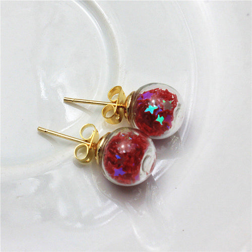 Colorful Round Ball Stud Earrings For Women