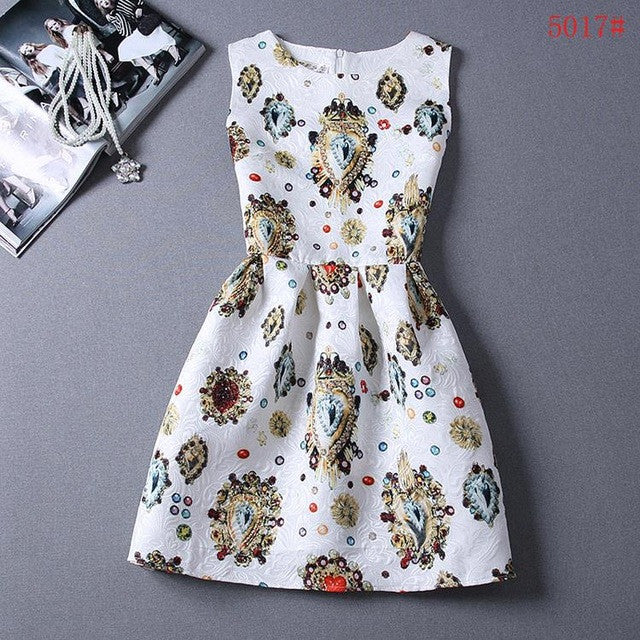 Women Sleeveless Floral Skater Dress