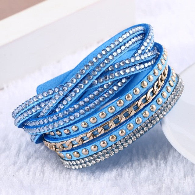 Multilayer Rhinestone Leather Bracelet Charm Bangle