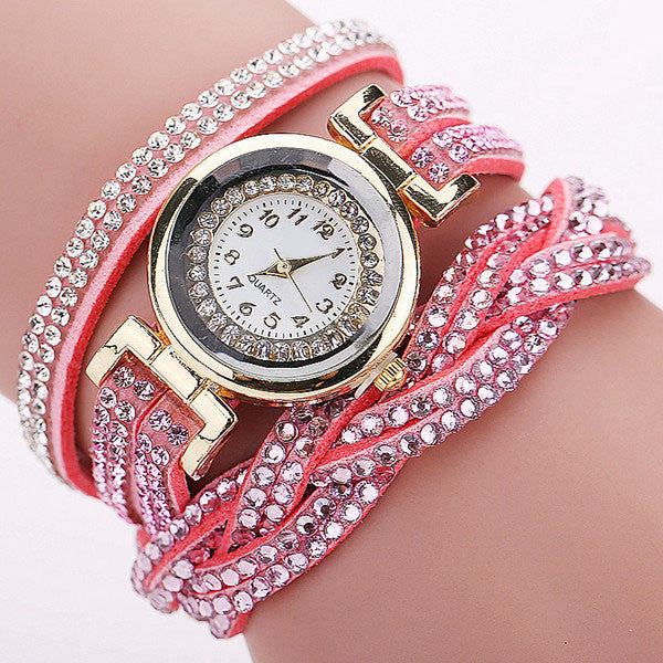 CCQ 2016 New Fashion Casual Quartz Women Rhinestone Watch Braided Leather Bracelet Wat9