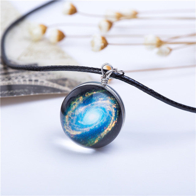 Colorful Crystal Pendant Leather Charm Necklace