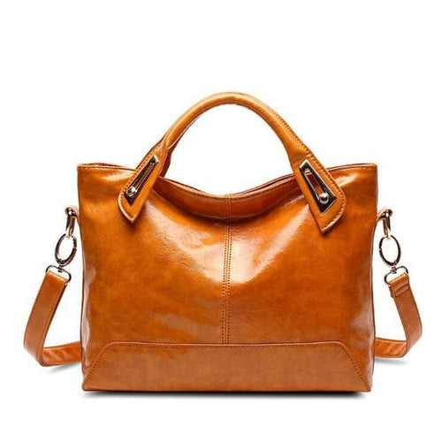 Women PU Leather Zipper Tote Hand bags