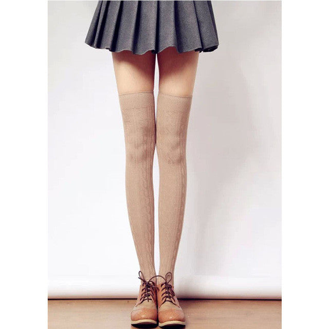 Stylish Color Knitted Stockings For Women