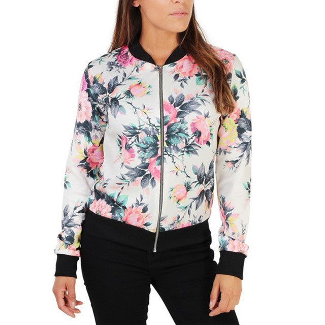 Floral Long Sleeve Coat Zipper Jacket