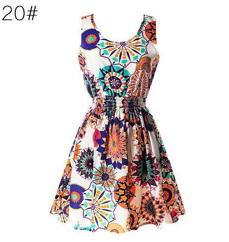 Women Floral O-Neck Skater Mini Dress