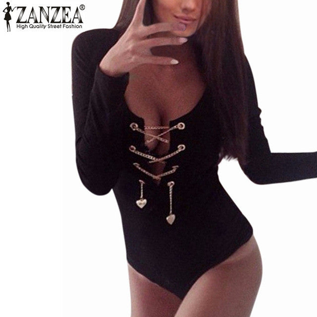 Women Deep V Lace Up Long Sleeve Bodysuit Rompers