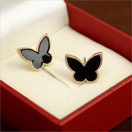 Gold Plated Black Butterfly Stud Earrings
