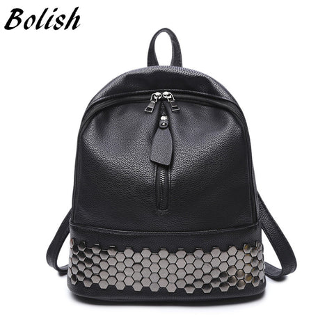 Zipper Leather Women Backpack