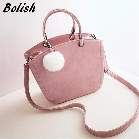 Women Fashion Suede Top Handle Tote Shoulder Bag
