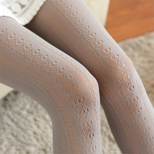 Fashion Vertical Lace Stockings Nylon Hose Tights