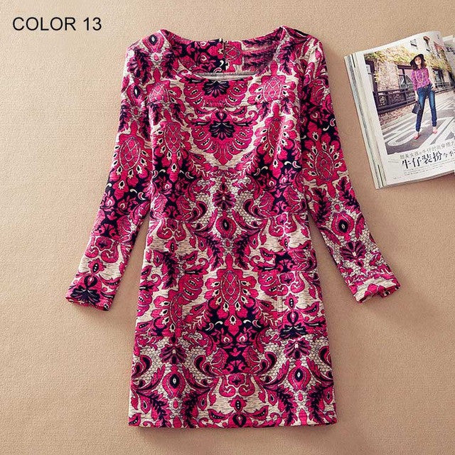Women Plus Size Floral Print O-Neck Best Dresses