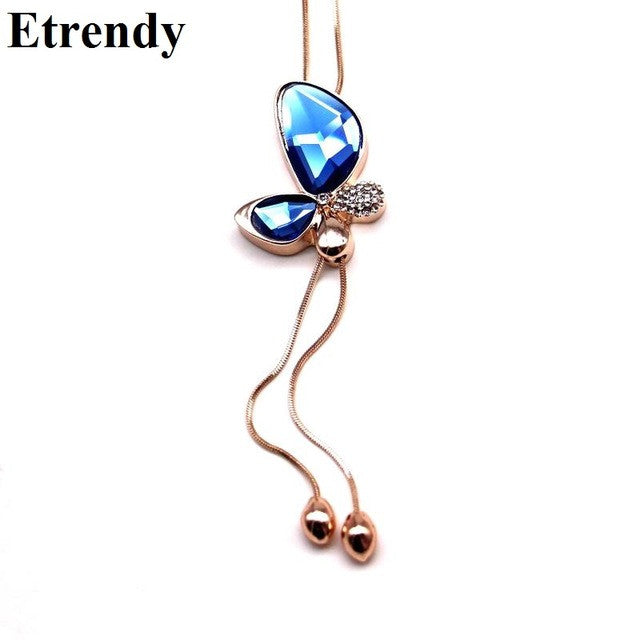 Fashion Crystal Butterfly Long Pendant Necklace