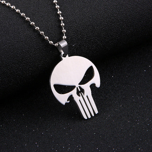 Stylish Skull Pendant Long Chain Charm Necklace