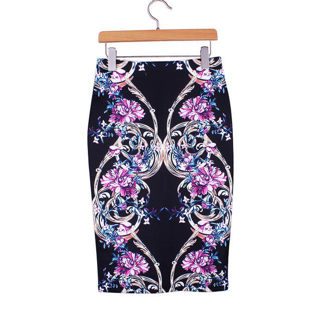 Geometric Print Knee Length Pencil Skirt