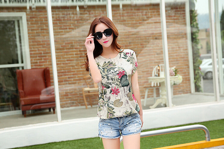 Ladies Summer Floral Print Short Sleeve Blouse Top