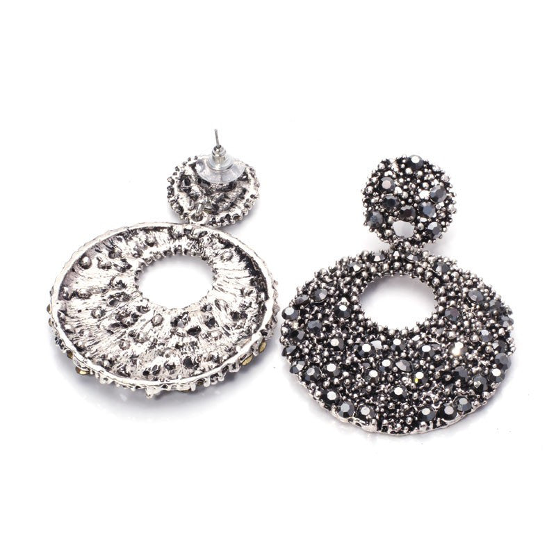Women Rhinestone Round Dangle Earrings