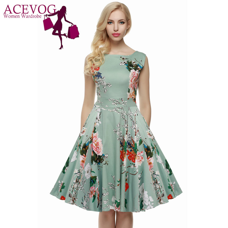 Floral O-Neck Sleeveless Flare Cocktail Dress