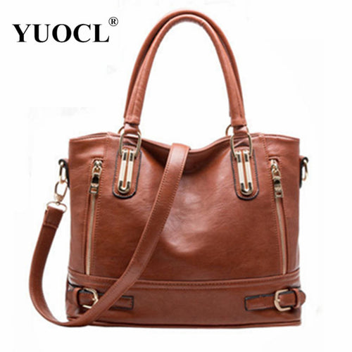 Designer Women PU Leather Zipper Shoulder Handbags