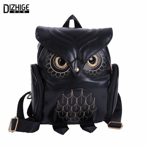 Owl Print Zipper Backpack