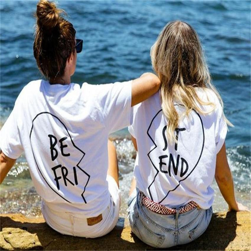Ladies Best Friends Print Pair T-Shirts
